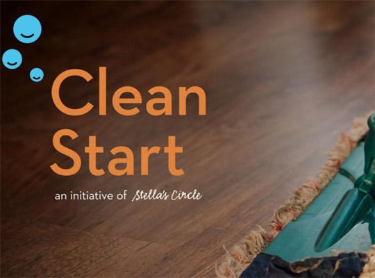 a clean start poster with their logo on a swiffer cleaning a hardwood floor