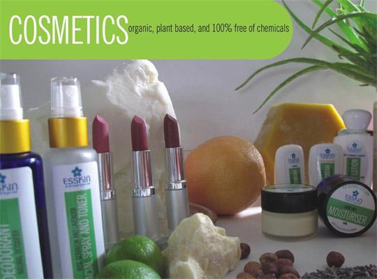 bottles, lipsticks, jars of esskin products - cosmetics organic, plant based, and 100% free of chemicals