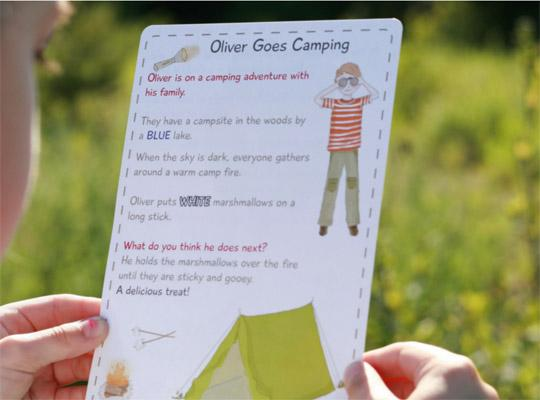 Oliver goes camping story card