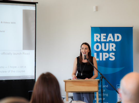 Alison, the creator of read our lips, presenting at the launching event