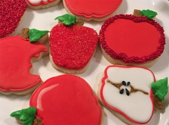 red apple cookie art cookies