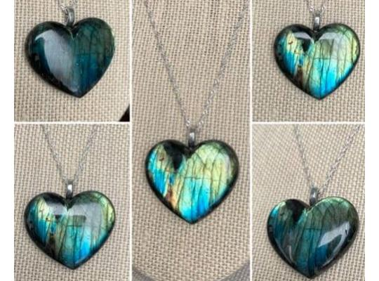 images of necklace pendants of shimmering labradorite hearts