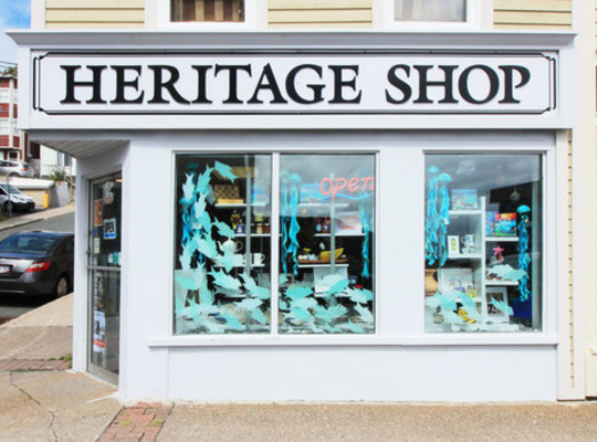 Heritage Shop on Duckworth Street with big windows and whales painted on them