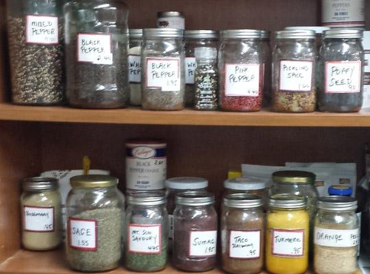 bulk spices in labelled jars