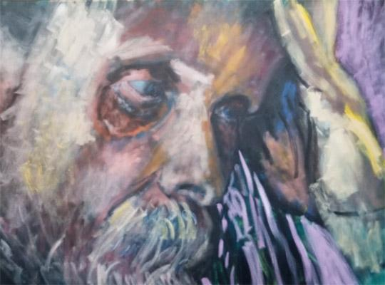 oil painting of an anguished man's face