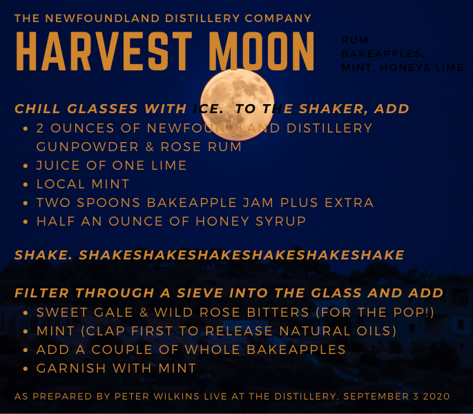 pick up ingredients for the Harvest Moon at NLC stores, and at the Distillery Shop in Clarke's beach