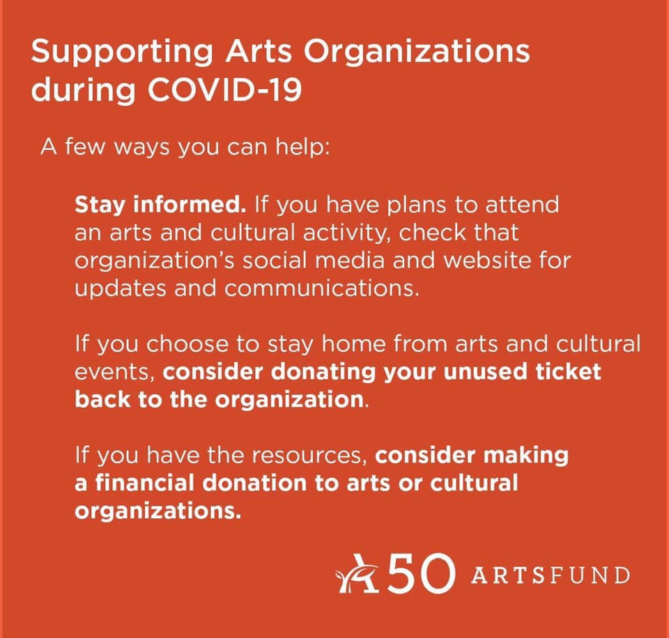 orange box white text recommendations for supporting the arts during covid-19