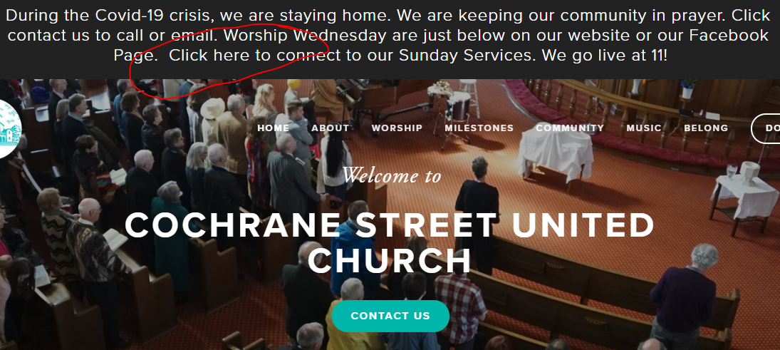 home page of Cochrane Street United Church website noting where to click to go online
