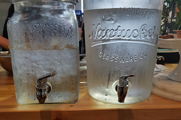 cold water in glass decanters